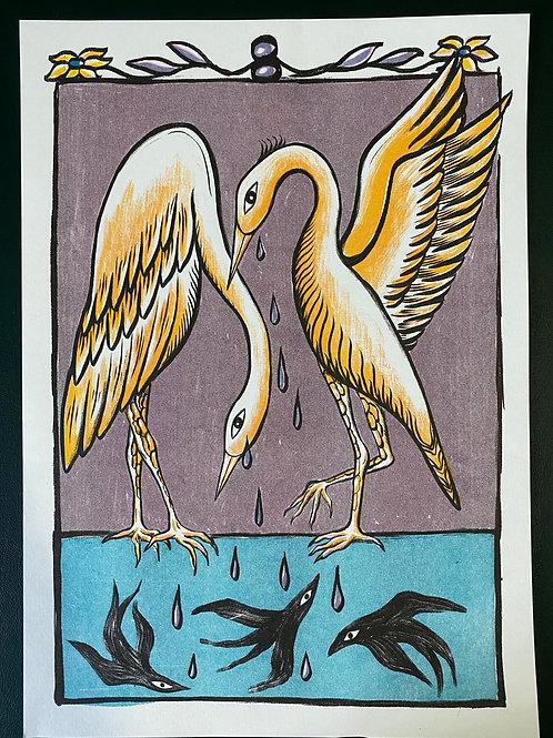 Heron Print by Kiah