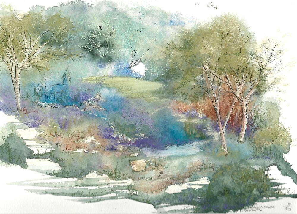 Landscape in Pen, Wash and Pastel