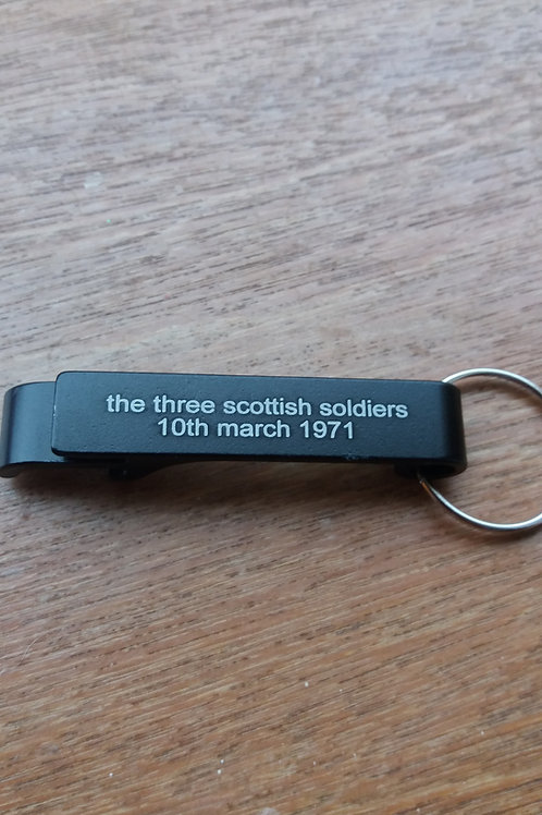 Three scottish soldiers campaign for justice bottle opener
