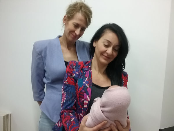 Claudia and sister Helen with Baby Kelly