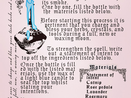 Just an easy spell bottle recipe to help with anxiety and promote happiness.