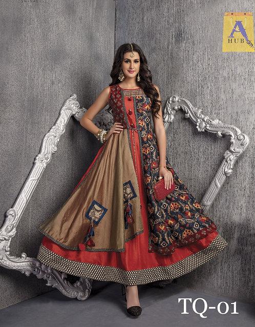 Chanderi cotton gown