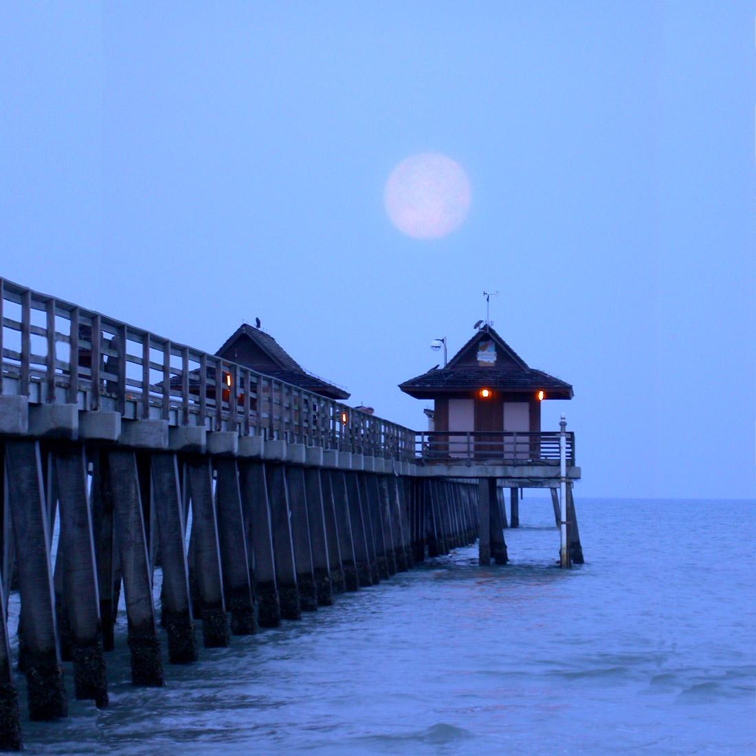 Moonset over Pier
