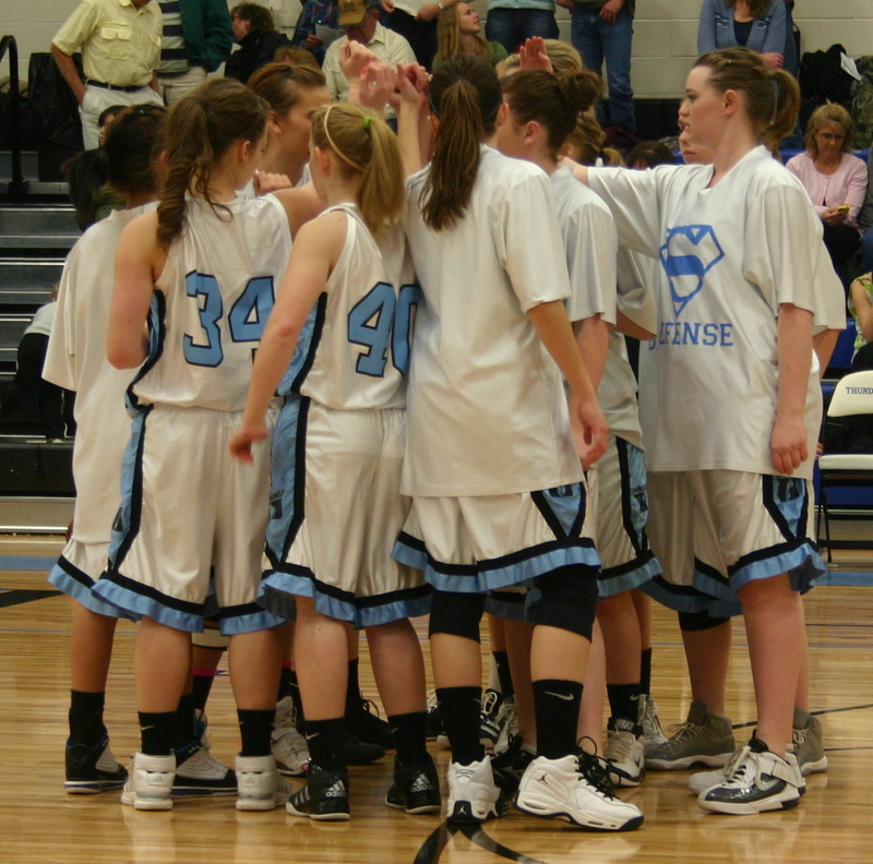 Girls Volleyball Team Huddle