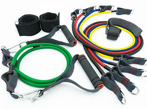 A set of colorful resistance bands,door