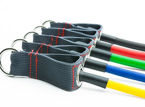 Colorful resistance bands isolated on th