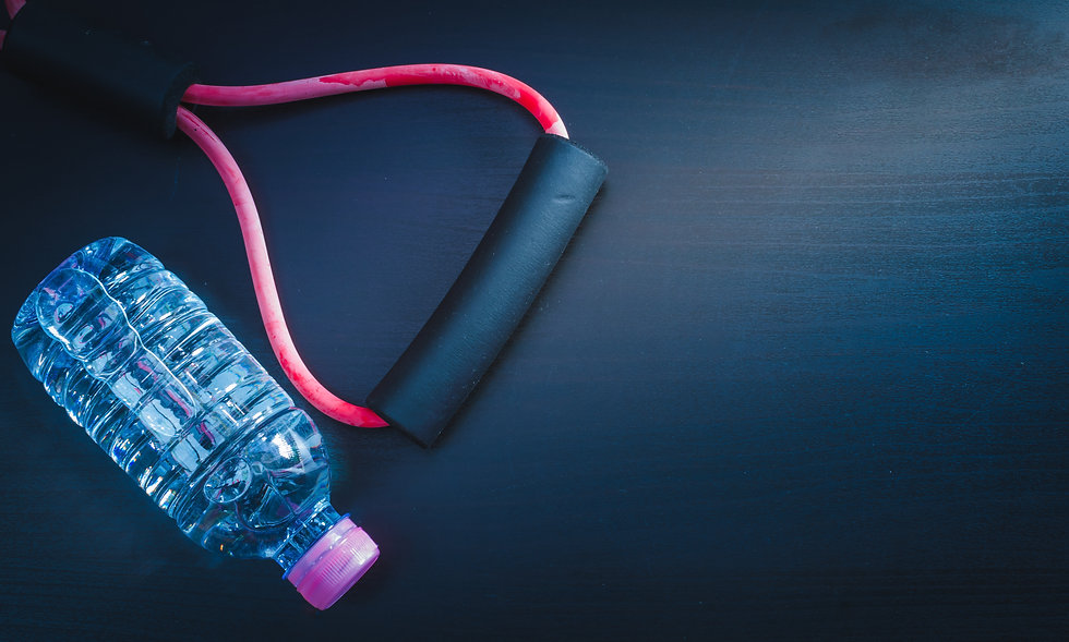 resistance band and water bottle - blue color tone effect.jpg