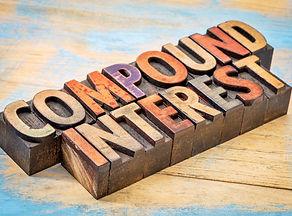 compound interest banner - text in vintage letterpress wood type against grunge wood.jpg