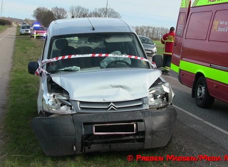 Tre biler i uheld på Slagelsevej ved Fodby
