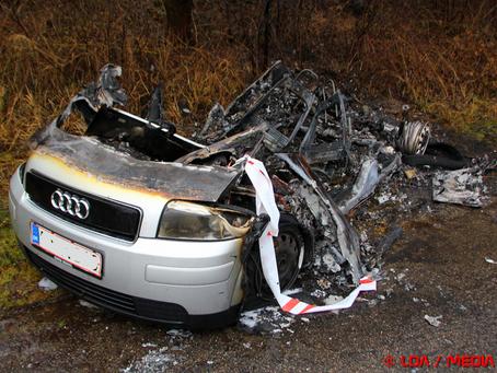 Audi A2 udbrændte totalt nytårsnat ved Glumsø
