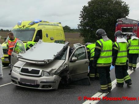 Uheld på Præstø Landevej lidt uden for Næstved