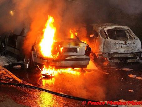 To biler udbrændte i Næstved natten til lørdag