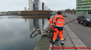 Kørte i Næstved Havn på cykel.