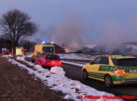 Omfattende gårdbrand i Krømlinge uden for Næstved