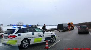 Kassevogn forulykkede på sydmotorvejen