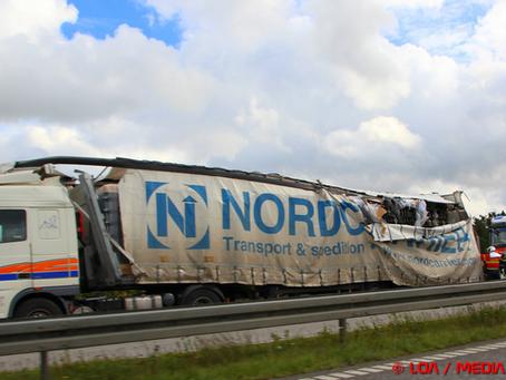 To lastbiler i færdselsuheld på sydmotorvejen ved Rønnede