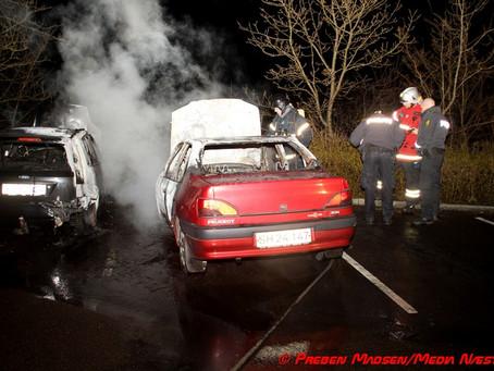 To biler udbrændte på Præstøvej i Næstved