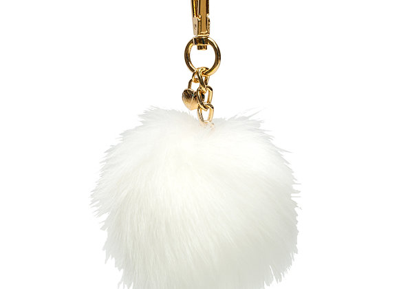White B.Pearl Purse Fur Pompom, Fur Ball