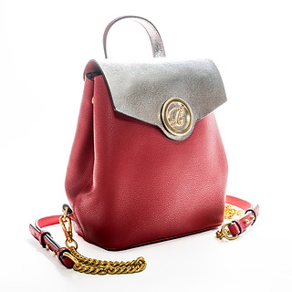 B.Pearl Logo Silver and Red Leather Backpack Purse, LA-BP1903-1