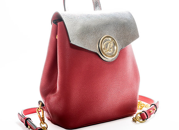 B. Pearl Logo Red Backpack Purse
