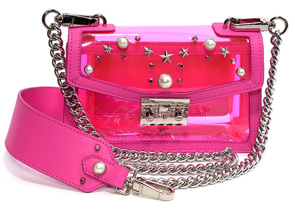 B.Pearl Neon Pink Plastic Girls Purse