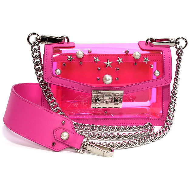 B.Pearl Pink Neon Plastic and Leather Purse - GD-BP1904-1