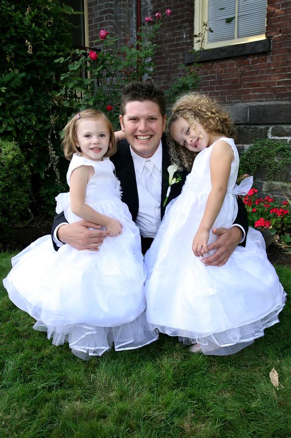 Groom and Flower Girls Wedding Photograp
