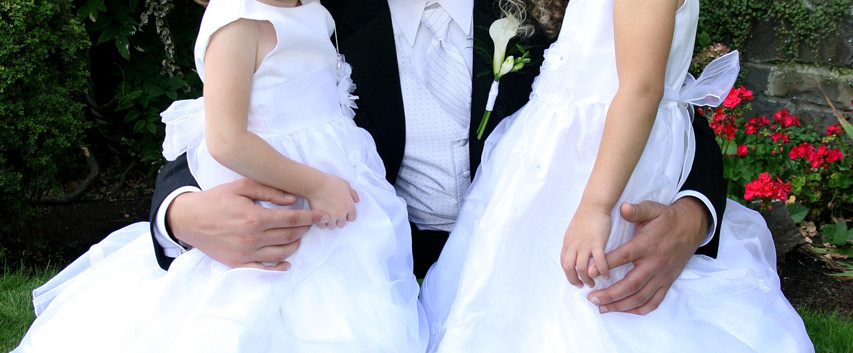 Groom and Flower Girls Wedding Photograp