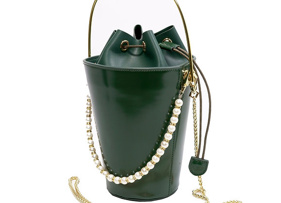 B.Pearl Green Leather Bucket Purse, Party