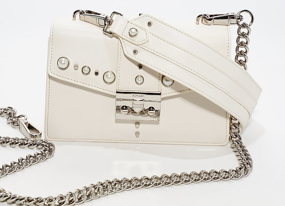 B.Pearl Small White Leather Purse