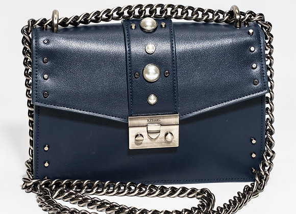 B.Pearl Navy Blue Leather Purse No Tab