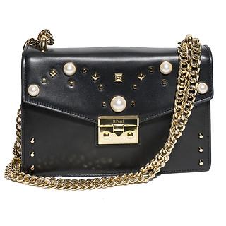 B.Pearl, Black Leather Pearl Purse