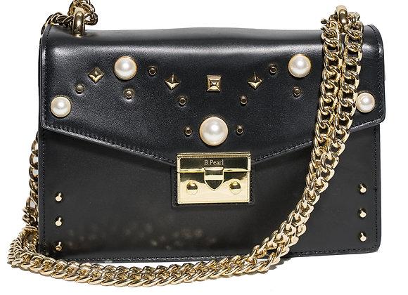 B.Pearl Black Leather Purse no tab