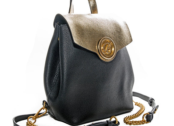 B.Pearl black leather backpack Purse