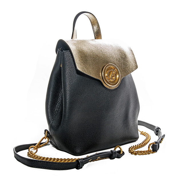 B.Pearl Gold Flap on Black Leather Backpack Purse, LA-BP1903-3