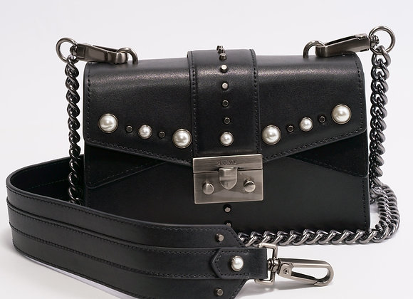 B.Pearl Small Black Leather Purse