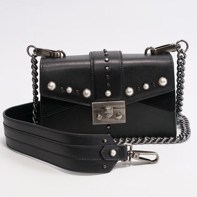 Small Modern Cut Black B.Pearl Leather Purse, JK-HJ2699-2