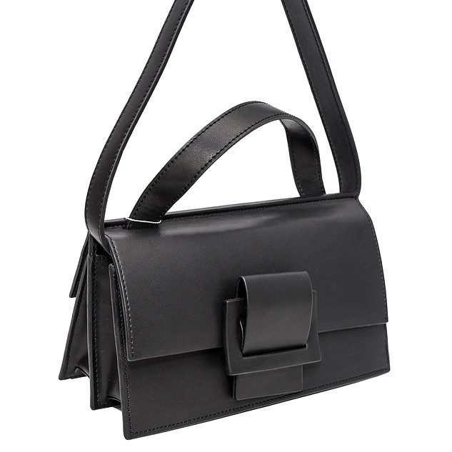 B.Pearl Black Leather Two Faced Purse, AC-BP1904-2