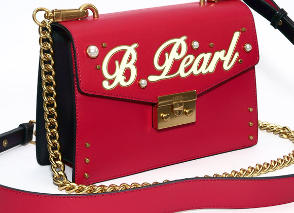 B.Pearl Red Leather Signature Purse