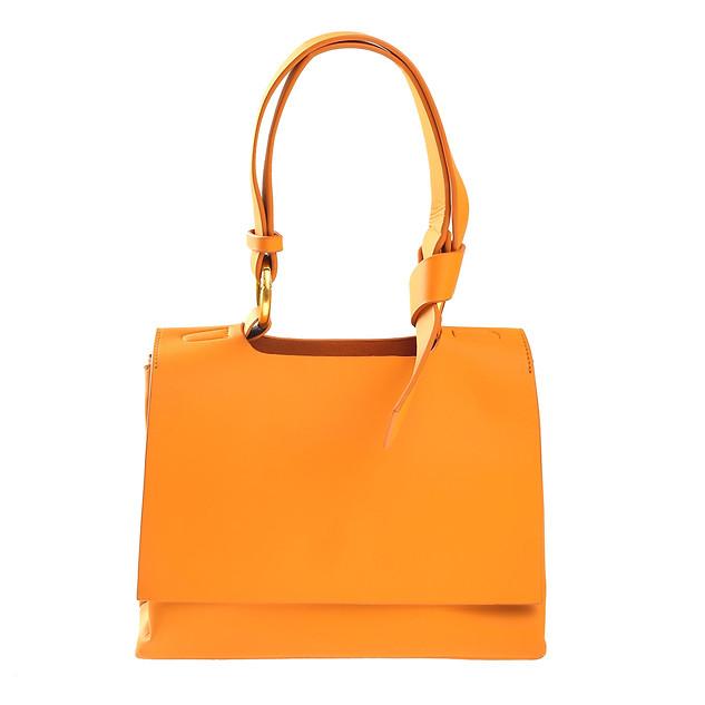 B.Pearl Orange Leather Handbag