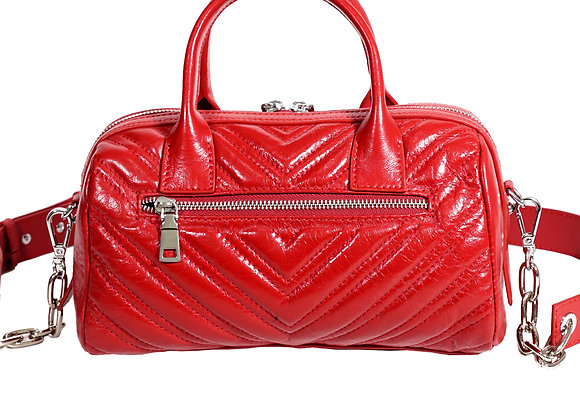 B.Pearl Red Leather Quilted V Handbag