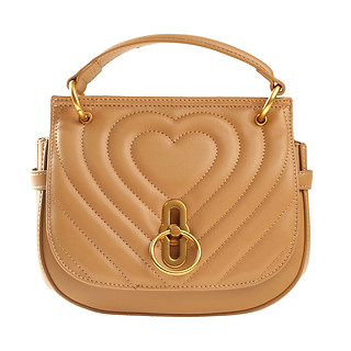 B.Pearl Leather Heart Handbag