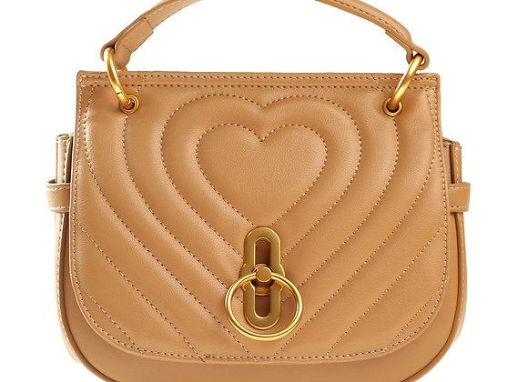 B.Pearl Tan Quited Heart handbag