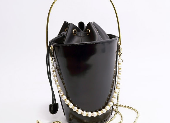 B.Pearl Black Leather Bucket Purse, Party