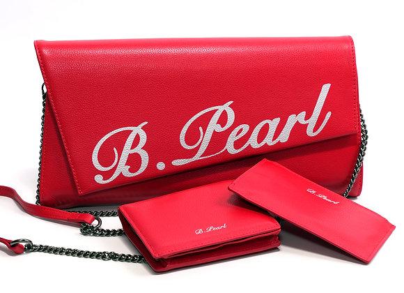 B.Pearl Red Leather Signature Purse Clutch Set