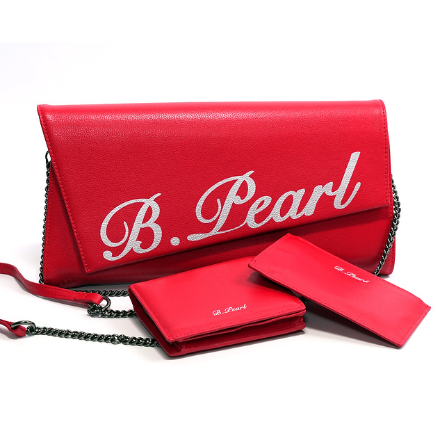 B.Pearl Red Leather Clutch Purse, TX-BP1903-2