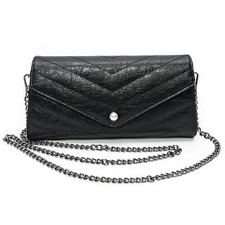 Black B.Pearl Leather Clutch Purse -TX-BP1903-3