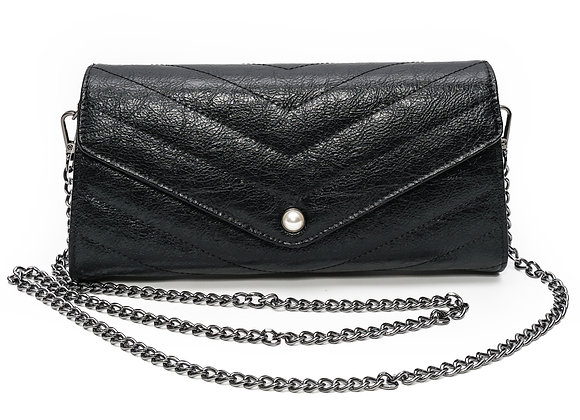 Black Leather Clutch Purse