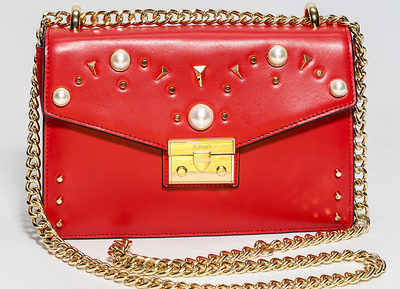 B.Pearl Red Leather Fashion Purse No Tabs