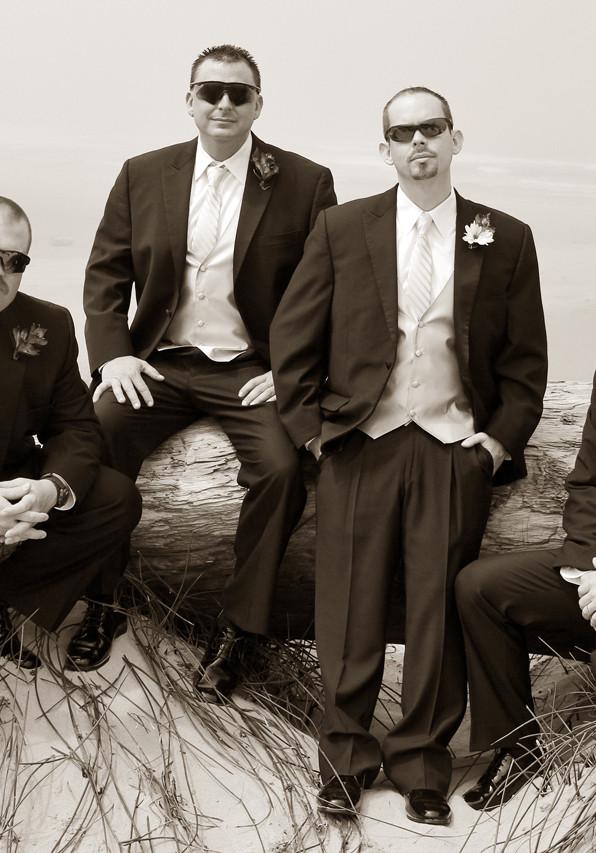 Groomsmen and Groom Beach Portrait